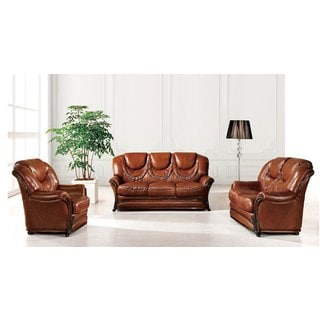 Luca Home Brown Sofa and Chair Set