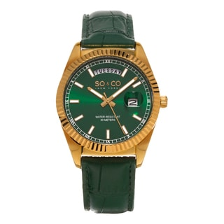 SO&CO New York Men's Madison Quartz Green Leather Strap Watch