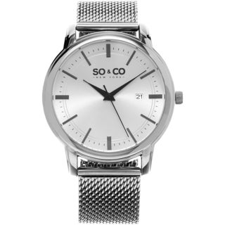 SO&CO New York Men's Madison Stainless Steel Mesh Bracelet Quartz Watch