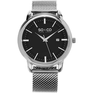 SO&CO New York Men's Madison Quartz Stainless Steel Mesh Bracelet Watch
