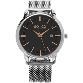 SO&CO New York Men's Madison Stainless Steel Mesh Quartz Watch