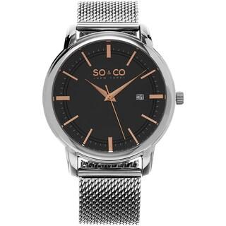 SO&CO New York Men's Madison Stainless Steel Mesh Quartz Watch