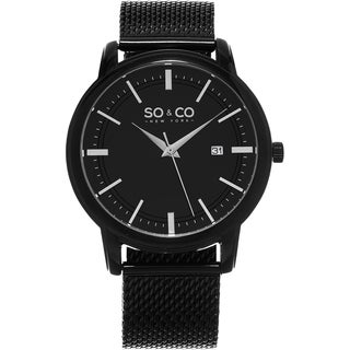 SO&CO New York Men's Madison Quartz Black Stainless Steel Mesh Bracelet Watch