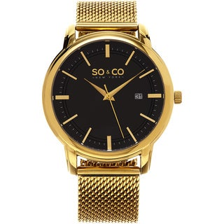 SO&CO New York Men's Madison Quartz Goldtone Mesh Bracelet Watch