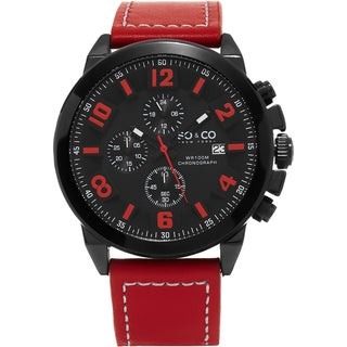 SO&CO New York Men's Monticello Quartz Red Leather Strap Watch