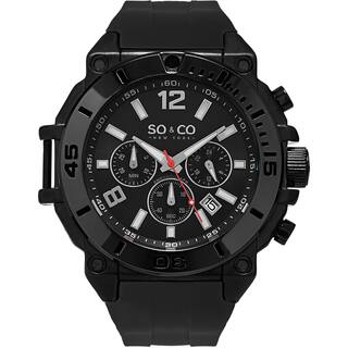 SO&CO New York Men's Yacht Club Quartz Black Rubber Strap Watch|https://ak1.ostkcdn.com/images/products/11336352/P18311369.jpg?impolicy=medium