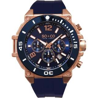 SO&CO New York Men's Yacht Club Quartz Blue Rubber Strap Watch