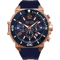 SO&CO New York Men's Yacht Club Quartz Blue Rubber Strap Watch