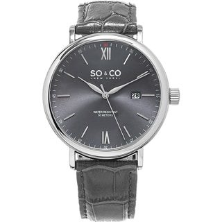 SO&CO New York Men's Madison Quartz Grey Leather Strap Watch