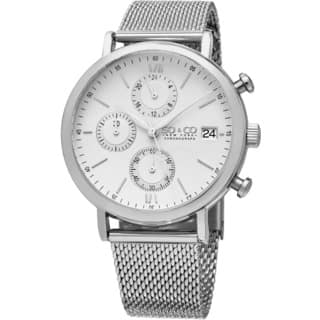 SO&CO New York Men's Monticello Quartz Chronograph Watch with Stainless Steel Mesh Band|https://ak1.ostkcdn.com/images/products/11336357/P18311373.jpg?impolicy=medium