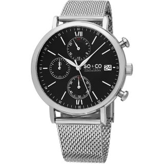 SO&CO New York Men's Monticello Quartz Chronograph Watch with Stainless Steel Mesh Band (Option: Black / silver tone)