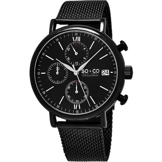SO&CO New York Men's Monticello Quartz Chronograph Bracelet Watch with Black Stainless Steel Mesh Bracelet