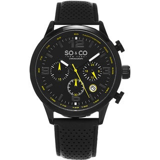 SO&CO New York Men's Monticello Black Leather Strap Quartz Watch