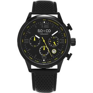 SO&CO New York Men's Monticello Black Leather Strap Quartz Watch