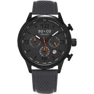 SO&CO New York Men's Monticello Quartz Grey Leather Strap Watch