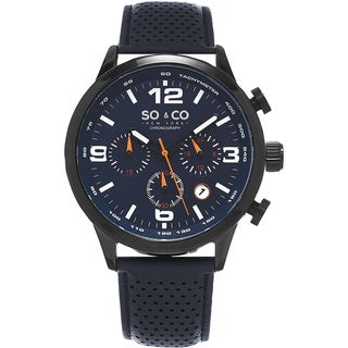 SO&CO New York Men's Monticello Quartz Blue Leather Strap Watch