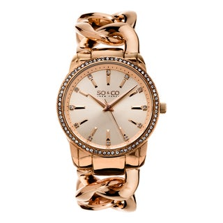 SO&CO New York Women's SoHo Rosetone Crystal Stainless Steel Link Bracelet Quartz Watch