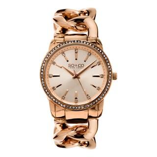 SO&CO New York Women's SoHo Rosetone Crystal Stainless Steel Link Bracelet Quartz Watch