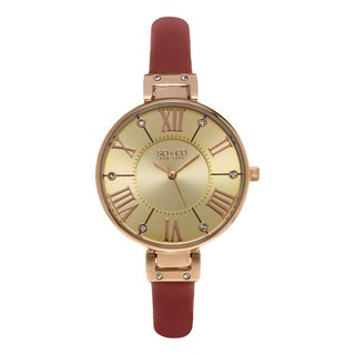 SO&CO New York Women's SoHo Quartz Red Leather Strap Crystal Watch