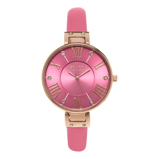 SO&CO New York Women's SoHo Quartz Pink Leather Strap Crystal Watch