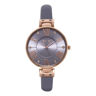 SO&CO New York Women's SoHo Quartz Purple Leather Strap Crystal Watch