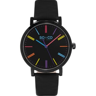 SO&CO New York Women's SoHo Quartz Colorful Dial Black Leather Strap Watch