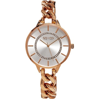 SO&CO New York Women's SoHo Quartz Rosetone Crystal Stainless Steel Link Bracelet Watch