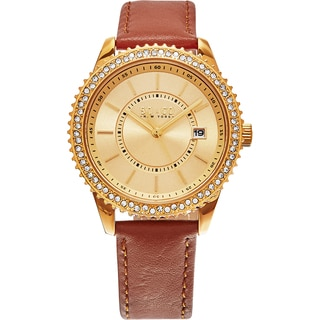 SO&CO New York Women's Madison Brown Leather Strap Quartz Watch