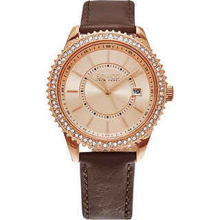 SO&CO New York Women's Madison Brown Leather Strap Crystal Quartz Watch
