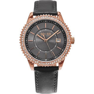 SO&CO New York Women's Madison Quartz Brown Leather Strap Crystal Watch