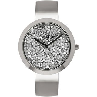 SO&CO New York Women's SoHo Quartz Stainless Steel Bangle Crystal Watch