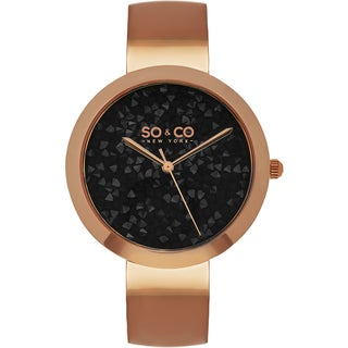 SO&CO New York Women's SoHo Quartz Rosetone Bangle Crystal Watch
