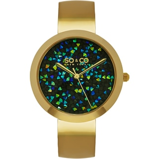 SO&CO New York Women's SoHo Quartz Goldtone Bangle Crystal Watch