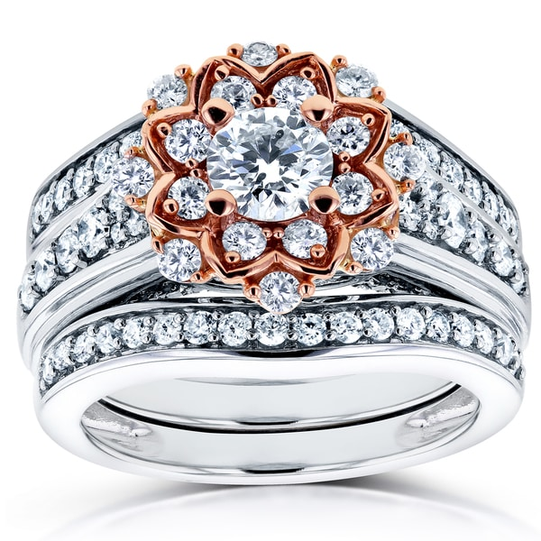 wedding rings bridal jewelry sets annello by kobelli 14k two tone gold 1 13ct tdw diamond lotus flower 3 - 3 Piece Wedding Ring Set