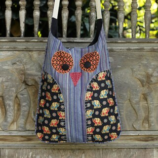 Handcrafted Cotton 'Whimsical Blue Owl' Bag (Thailand)