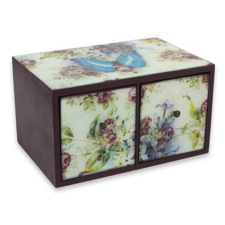 Handcrafted Decoupage 'Blue Butterfly Nostalgia' Box (Mexico)