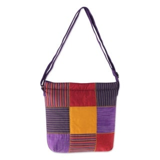 Handcrafted Cotton 'Purple Joglo' Shoulder Bag (Indonesia)