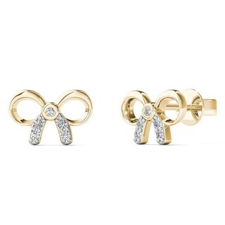 10k Yellow Gold Diamond Accent Bow Stud Earrings