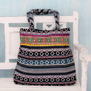 Handcrafted Cotton 'Midnight Flames' Shoulder Bag (India)