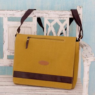 Handmade Cotton Canvas 'Indian Mustard' Laptop Messenger Bag (India)