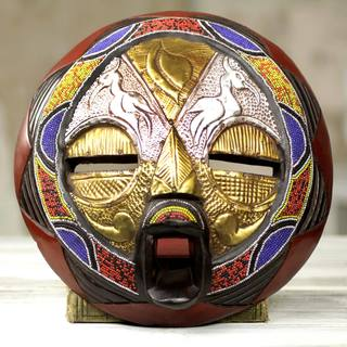 Handcrafted Beaded Sese Wood 'Promise of Prosperity' Mask (Ghana)
