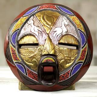Handmade Beaded Sese Wood 'Promise of Prosperity' Mask (Ghana) - GOLD - N/A