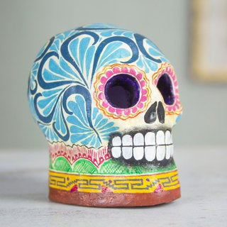 Handcrafted Ceramic 'Death in Blue' Figurine (Mexico)