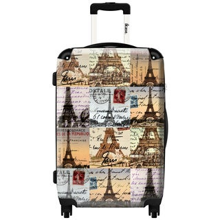 iKase Eiffel Tower Paris Patchwork 24-inch Fashion Hardside Spinner Upright Suitcase