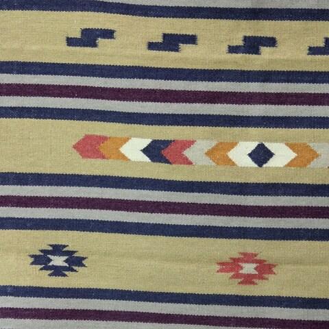 Handmade Singular Beauty Dhurrie Wool Rug 4 x 6 Ft (India) - 4' x 6'