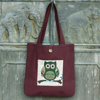 Handcrafted Cotton Blend 'Playful Owl' Tote Bag (Thailand)