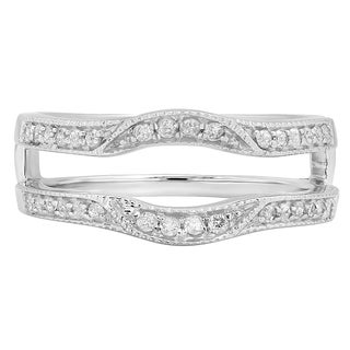 14k Gold 1/4ct TDW Diamond Millgrain Enhancer Double Guard Band (H-I, I1-I2)