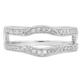 14k White Gold 1/4ct TDW Diamond Millgrain Enhancer Double Guard Band (H-I, I1-I2)