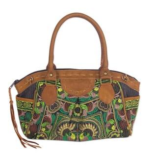 Handmade Cotton Leather Accent 'Mandarin Green' Handbag (Thailand)