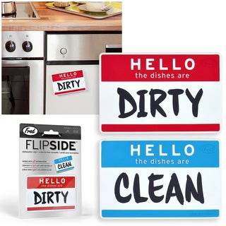 FRED Flipside Hello Clean/ Dirty Dishes Dishwasher Reversible Magnet Kitchen Sign